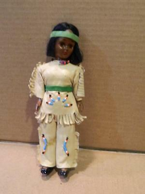 Native American Souvenir Girl Doll Leather Pants Suit Beaded Trim Vintage