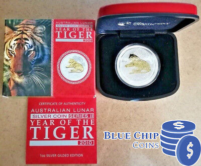 2010 $1 YEAR OF THE TIGER 1oz SILVER GILDED COIN PERTH MINT