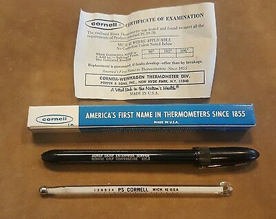 CORNELL U.S.A. Medical/Clinical Veterinary Large RECTAL Thermometer Plastic Case