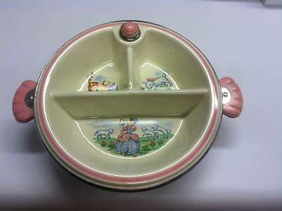 Vintage Ceramic Little Bo Peep Baby Child's Divided Serving Warming Dish Plate