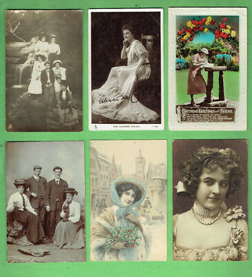 #d353.  #6.  Lot Of Six (6)  Women Fashion Postcards