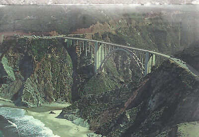 Bixby Creek Bridge  Monterey County  Highway 1 California  Chrome Postcard 12218