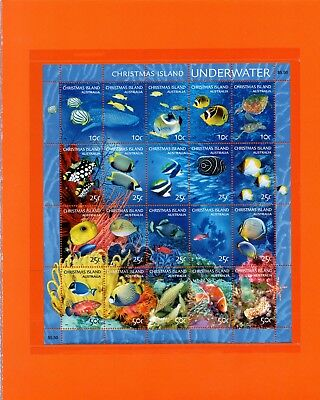 2004 Underwater stamp sheetlet Christmas Island in folder