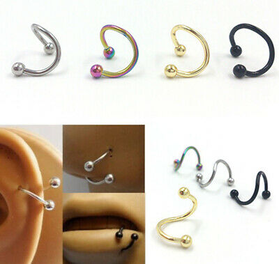 Men Women Horseshoe Bar Circular Barbell Lip Nose Septum Ear Ring