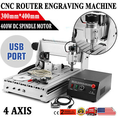 3040 4 Axis CNC Router Engraving Machine Engraver T-SCREW Desktop Wood Carving
