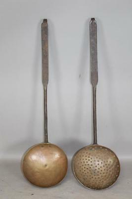 A Very Rare Pair Of Matching 18Th C Wrought Iron And Copper Cooking Utensils