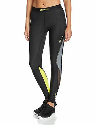 Skins Women's DNAmic Compression Long Tights Black/Limoncello X-Large New