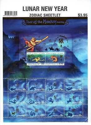 2004 Christmas Island Year of The Monkey - MUH Sheetlet