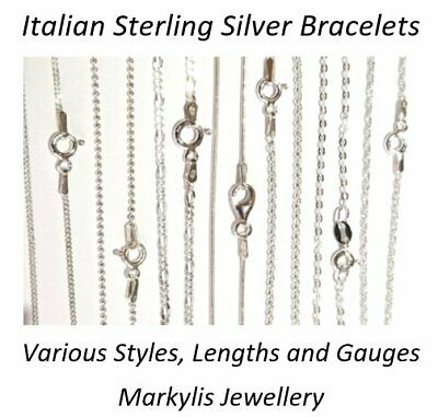 GENUINE 925 SOLID STERLING SILVER BRACELET - 7.5inch - VARIOUS STYLES AVAILABLE