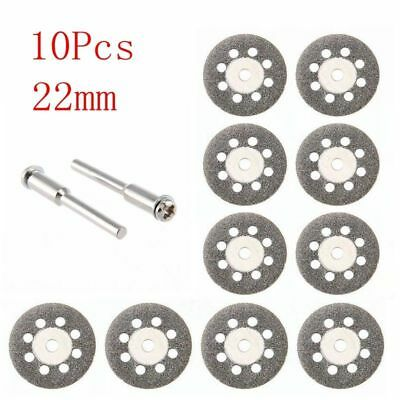 10X Mini Diamond Blade Cutting Disc Rotary Wheel Grinding +2 Mandrel Dremmel