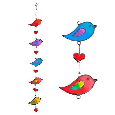 colorful bird stained glass effect resin mobile - beautiful window hanging -