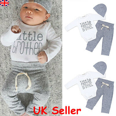 3PCS Newborn Baby Boys Romper Tops Long Pants Hat Knitted Outfits Clothes Set