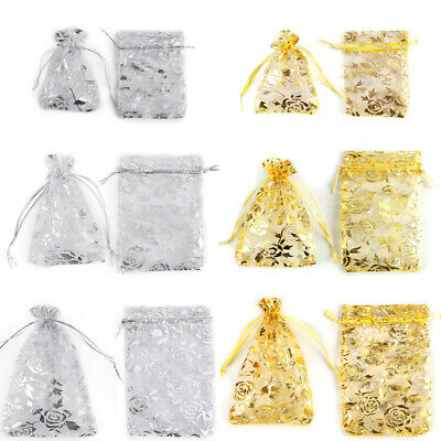 100pcs Hot Sheer Organza Gift Bags For Candy, Small Jewelry, Gift, Beads