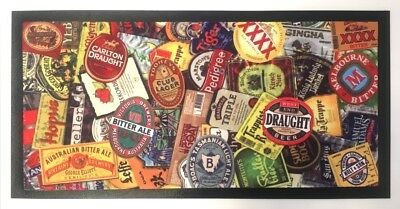 Bar Mat Runner Pub Xmas Pool non slip Beer Labels Stamp Man Cave Gift Aussie