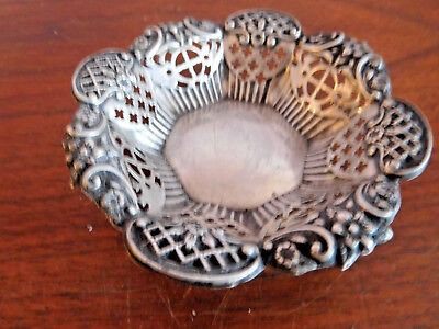 *found Vintage Ornate  Solid Silver Hall Marked Filigree Sweet Dish /bowl