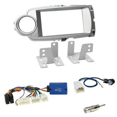 Toyota Yaris (XP13) 2011-2014 2-DIN Blende silber + Kenwood Lenkradadapter