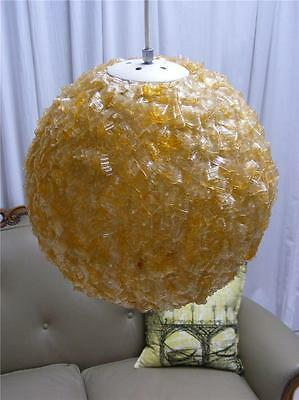 Mid century Hand made golden fibre glass orb globe hanging pendant light vintage