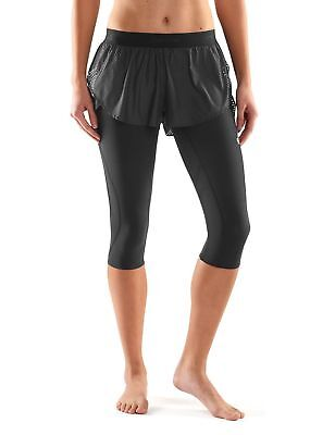 SKINS Women's Superpose 3/4 Tights Black/Limon Cello Large New