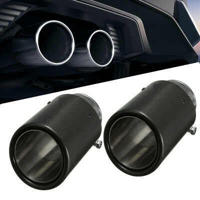 2X 60mm UNIVERSAL CAR REAR ROUND CARBON FIBER EXHAUST MUFFLER TAIL PIPE TRIM TIP