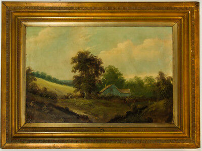 Large Signed Early 20th Century Oil - Rural Landscape with a Cottage