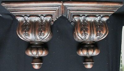 Pair of Solid Wood Leaf Corbels Brackets
