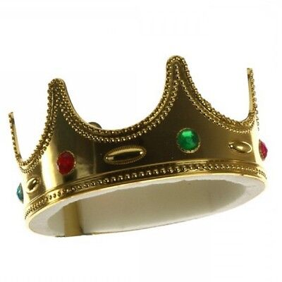 Plastic Jeweled Kings Crown Child King Boys Prince Hat Royal Costume Accessory