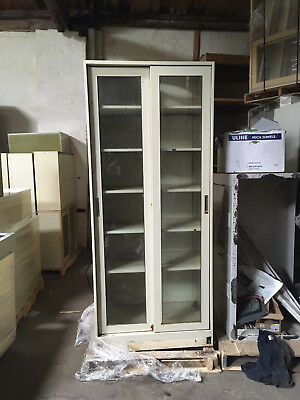 Tall Tan Lab Storage Cabinet with Sliding Glass Doors and Shelves 7'x3'x22""