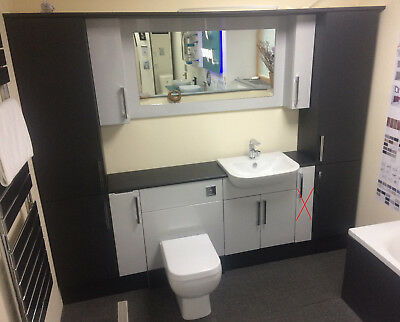 XD Bathroom 1900mm Vanity Unit in Grey White with Toilet Basin and Mirror & Tap