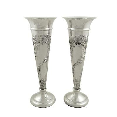 """Pair Of Antique Edwardian Sterling Silver 8"""" Vases - 1910 Mappin & Webb"""