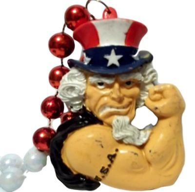 Uncle Sam USA Red White Blue Mardi Gras Beads Necklace Party Favor