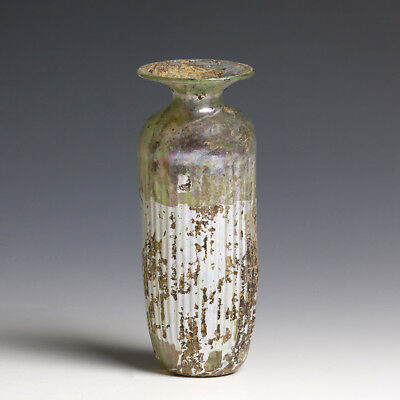 Roman Glass with Vertical Ribs and Iridescence