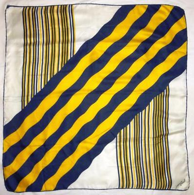 "~Vintage Jean Parel Silk Scarf Yellow, Navy & White Stripes 30"" X 30""~"