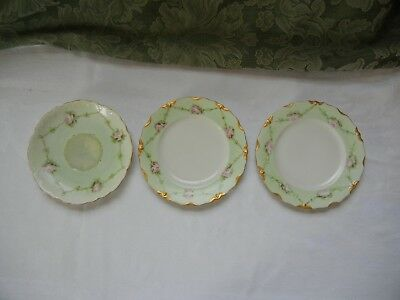 Antique FISCHER and MIEG Bohemian mint green gilt dessert plates Rosenthal Rare