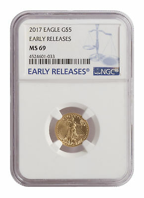2017 $5 1/10oz American Gold Eagle BU MS69 NGC Early Release Label