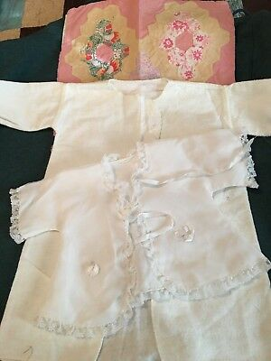 Antique, Vintage Real Baby clothes - 3 Peices, Bed Jacket, Robe, & Pillow