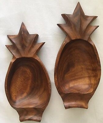Wood Carved Pineapple Dip Serving Bowls Set Of Two Funky Party Vintage