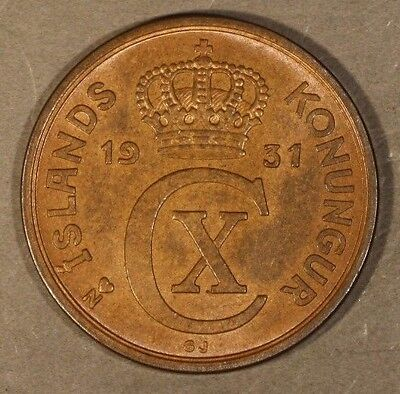 1931 Iceland 5 Aurar Brown Orange High Grade          ** Free U.S. Shipping**