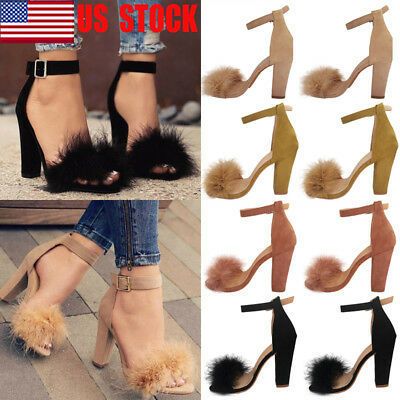 US Womens Fur Fluffy Heels Ankle Strap Block High Heel Sandals Party Shoes Size