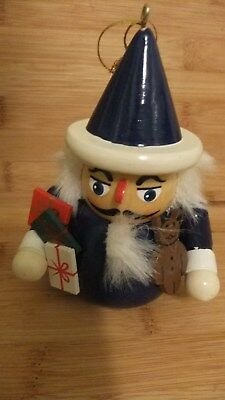 One Wooden Nutcracker Soldier Figure Holding Teddy Bear + Gifts Christmas