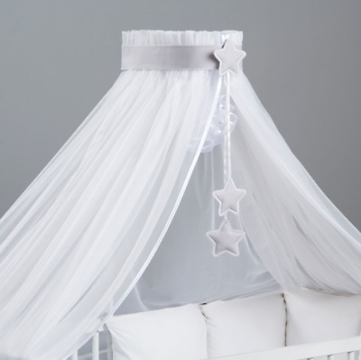 BABY COT BED CANOPY WHITE HUGE 480x170 MOSQUITO DRAPE NET GREY STARS+HOLDER