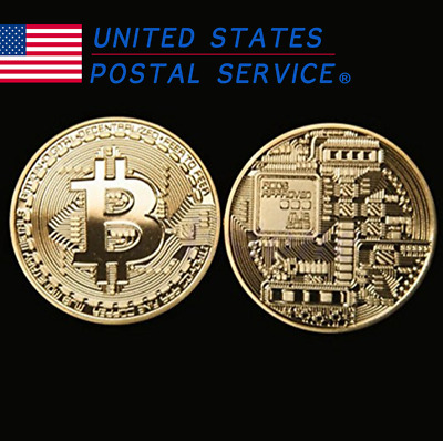 10 PACK Gold Bitcoin Commemorative Round Collectors Coin Bit Coin Gold Plated US
