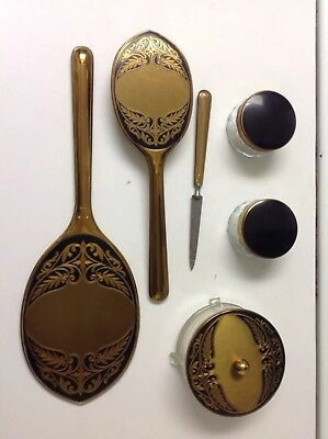 Vintage Vanity Set With Mirror, Brush and 3 Containers