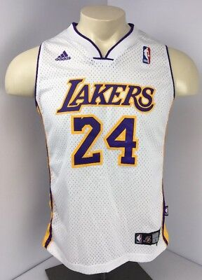 the best attitude abfc5 4798f ADIDAS KOBE BRYANT #24 Los Angeles Lakers White Nba Basketball Jersey Youth  L