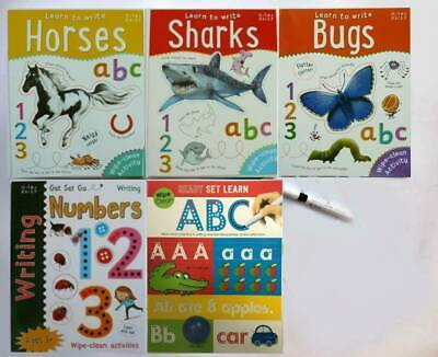 Wipe Clean Preschool Early Learning Writing Workbook Pack Ages 3+ with pen, New