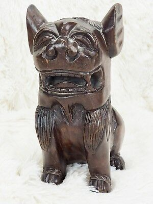 """Chinese Foo Dog - Carved Wood Solid - Vintage/Antique - 8.5"""" Tall"""