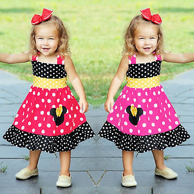 Toddler Kids Girls Minnie Mouse Princess Dress Party Polka Dot Tutu Sundress 1-4