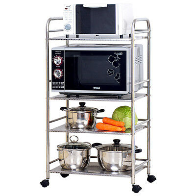 4 Tier Mobile  Microwave Oven Storage Shelf Stand Rack Kitchen 50cm Wide