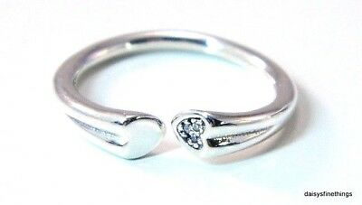 f21656443eb9b NEW! AUTHENTIC PANDORA Silver Ring Two Hearts Ring #196572Cz-56 Size 7.5