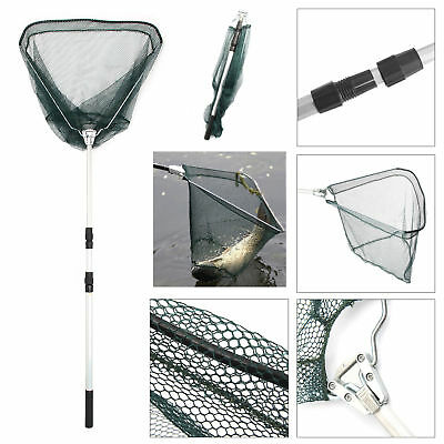 Portable Lightweight Fishing Landing Net Mesh Foldable Handle Telescopic Pole AU