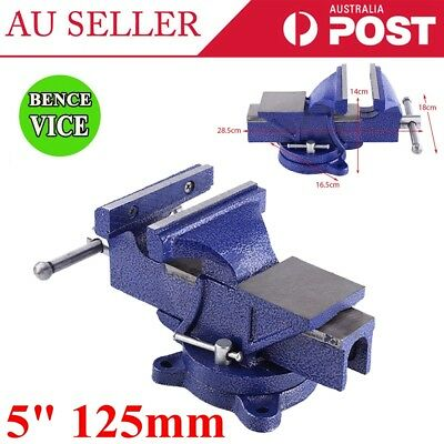 """5"""" / 125mm Mini Grip Heavy Duty Table Bench Vice Clamp Swivel Base Blue Color"""